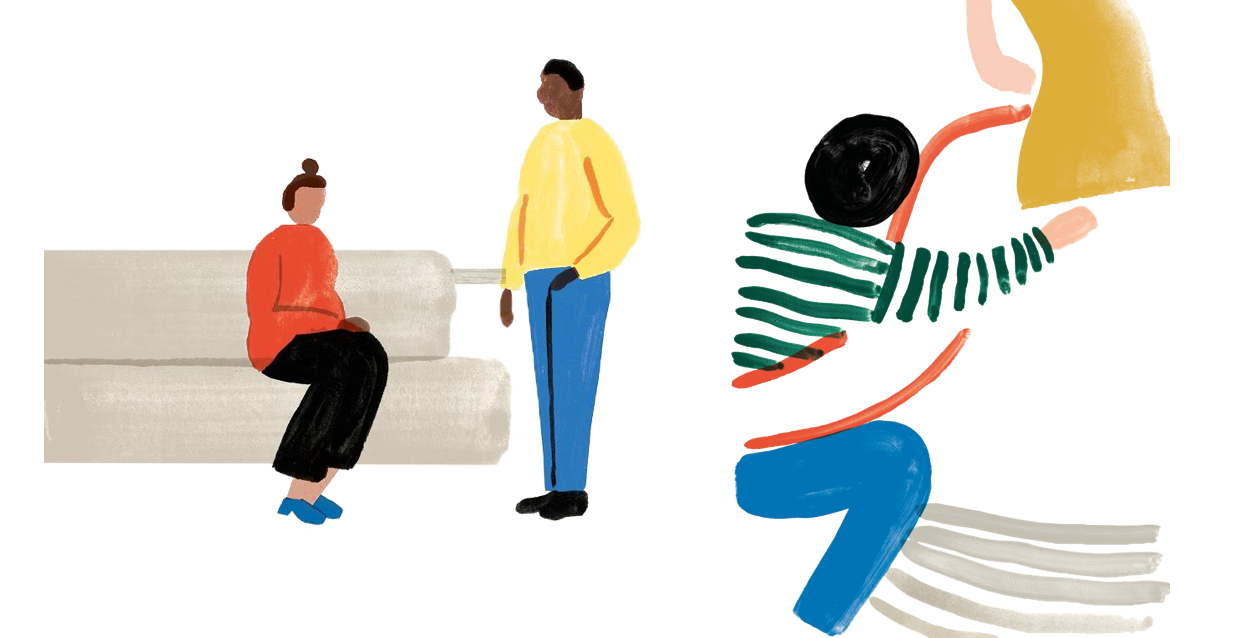 Illustration of woman holding a child and people talking