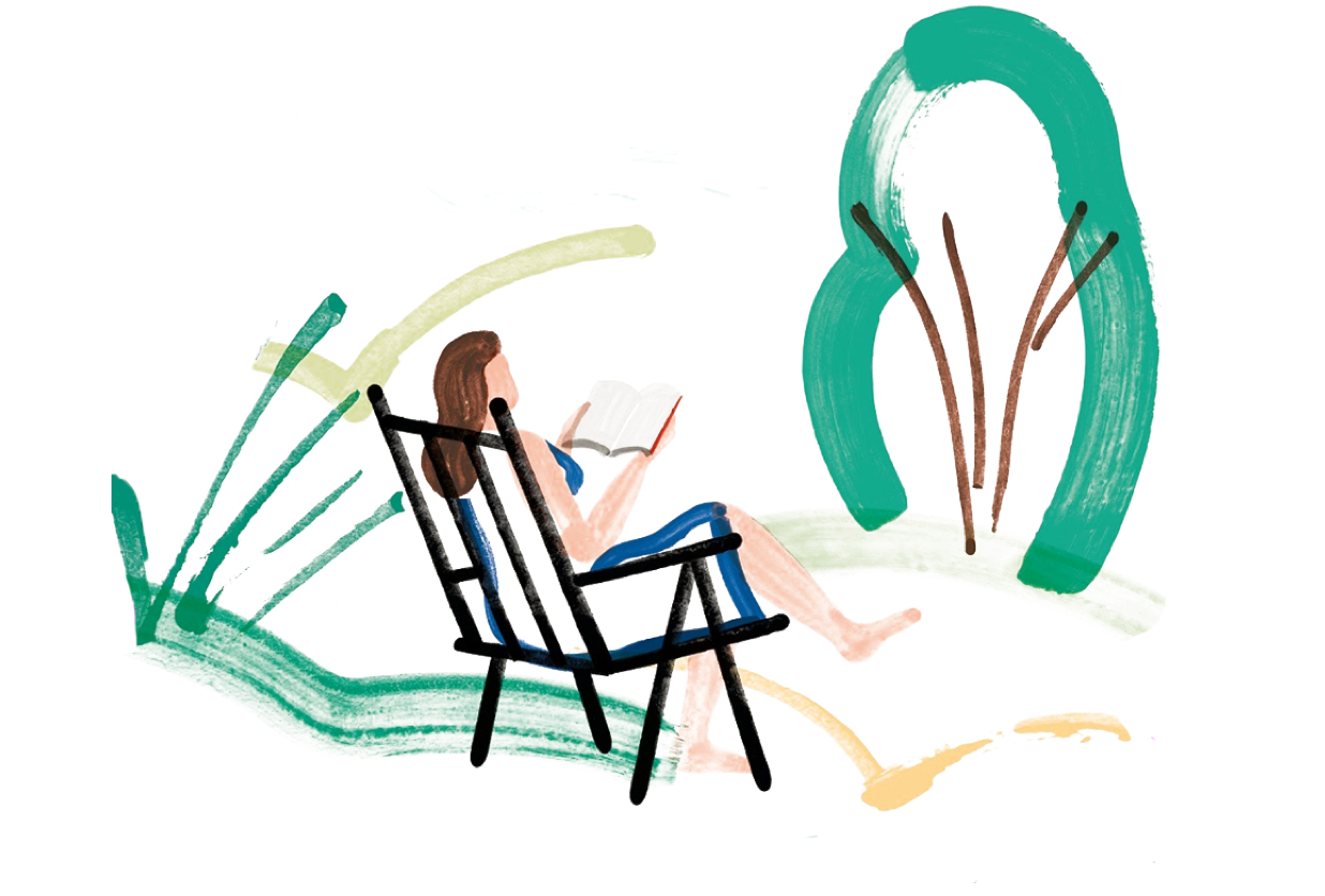 Illustration of woman sitting and reading
