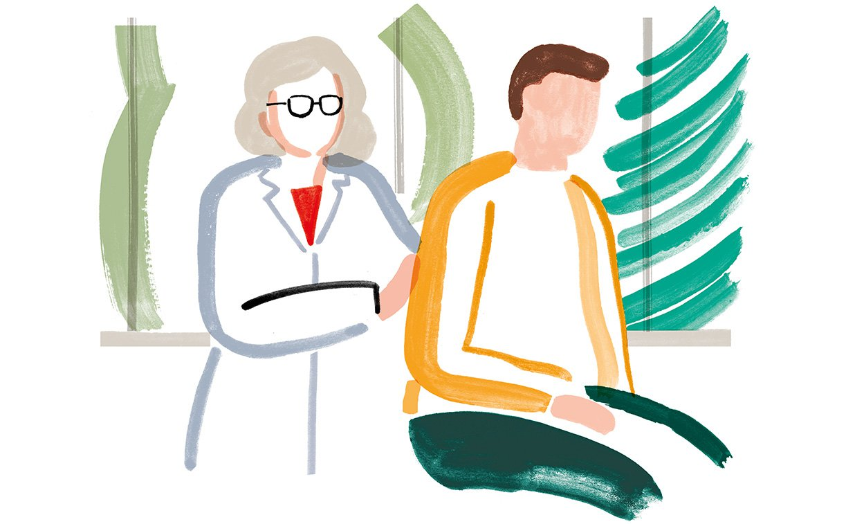 Illustration of a doctor and patient in a practical exam