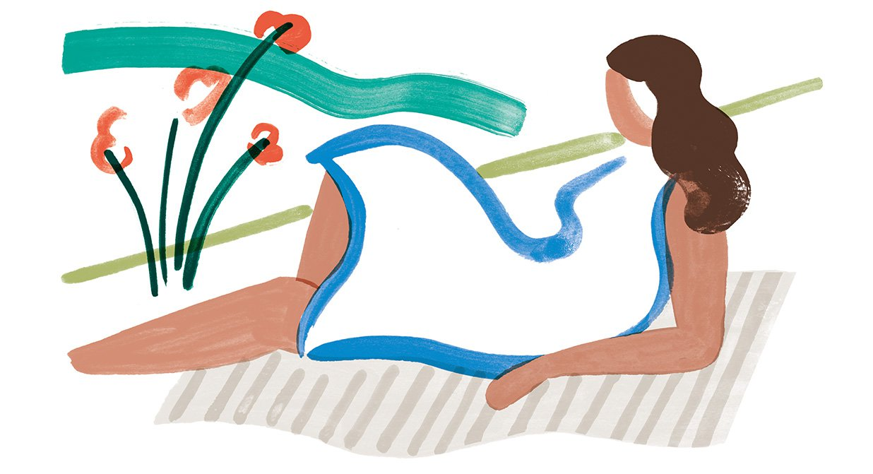 Illustration of woman lying on a blanket