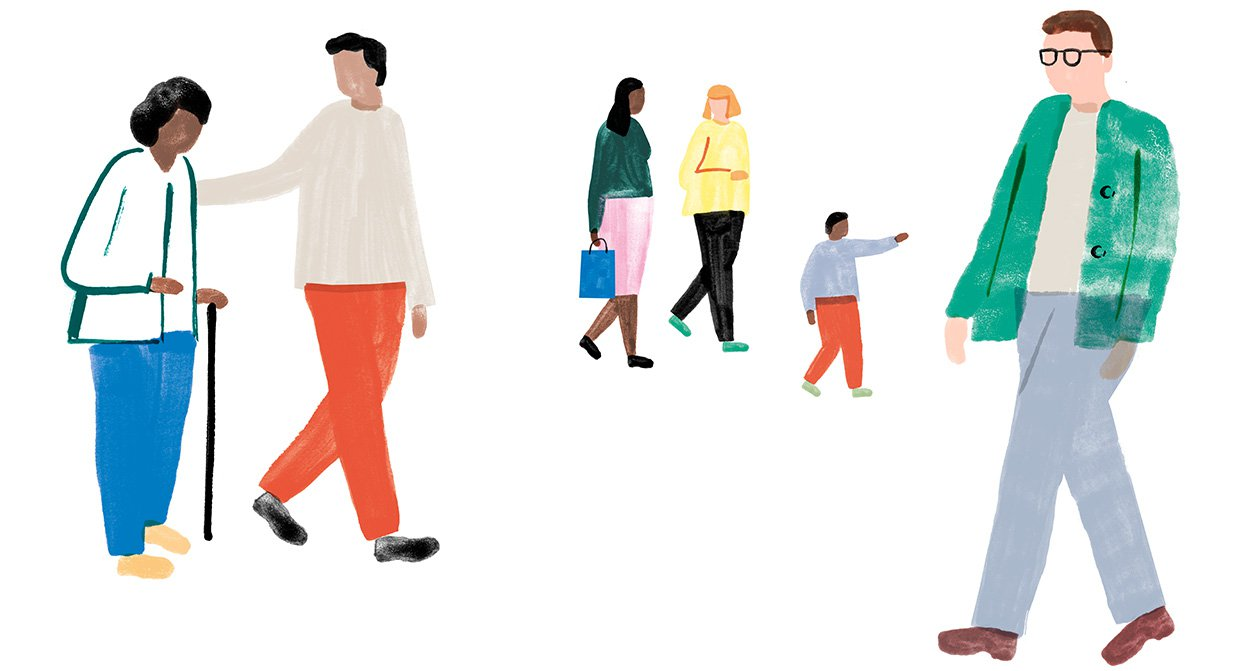 Illustration of people walking and talking